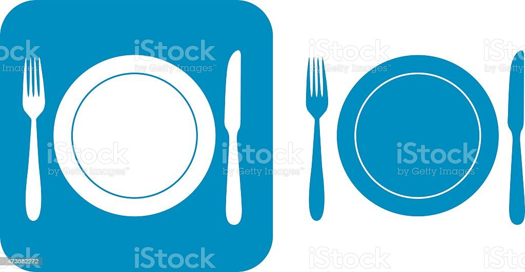 Blue Fork Plate And Knife Icons vector art illustration