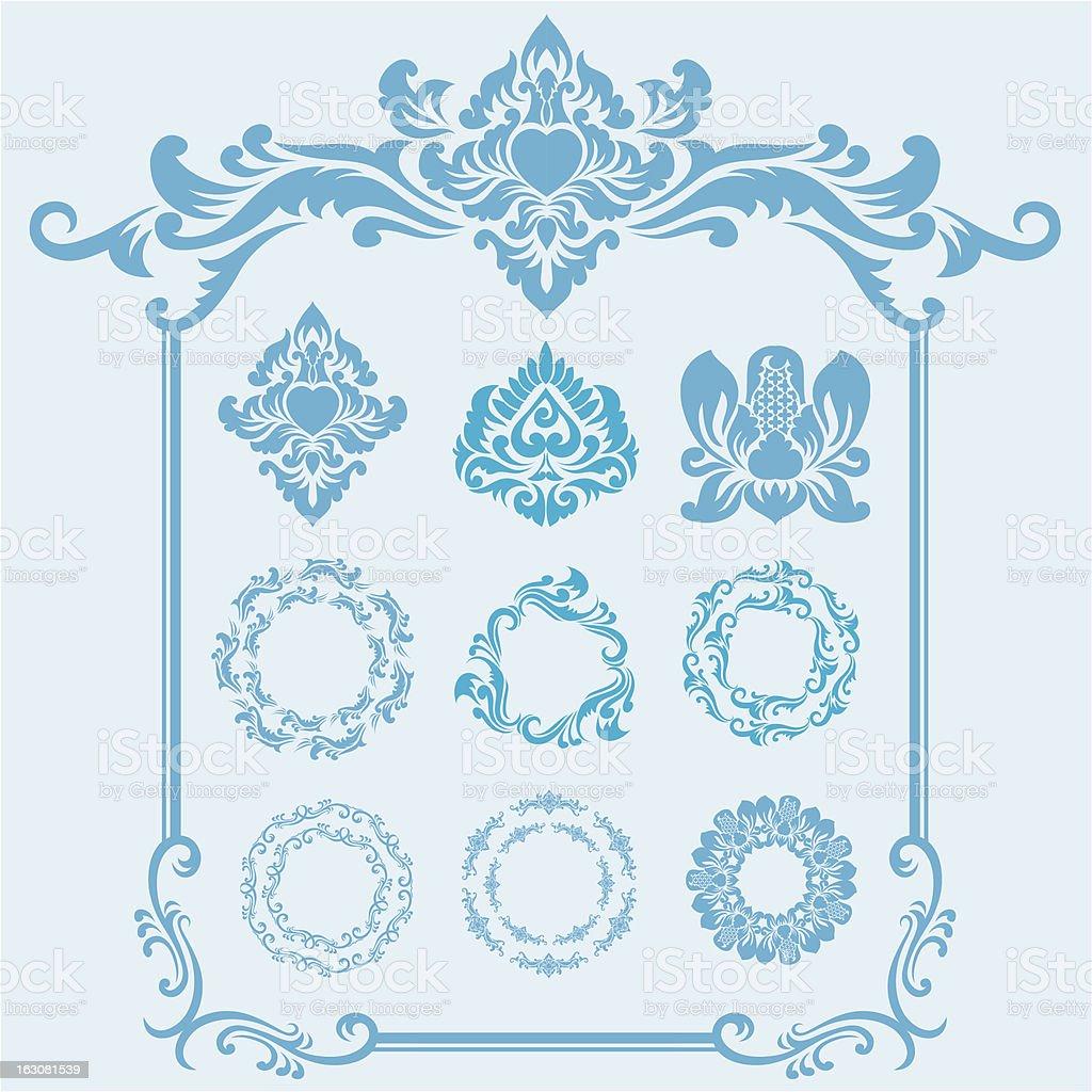Blue Frame Ornament vector art illustration