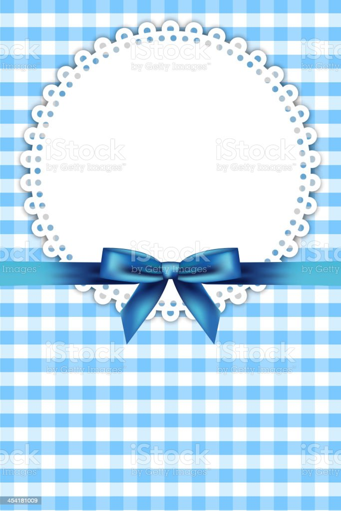 blue frame with napkin and ribbon royalty-free stock vector art