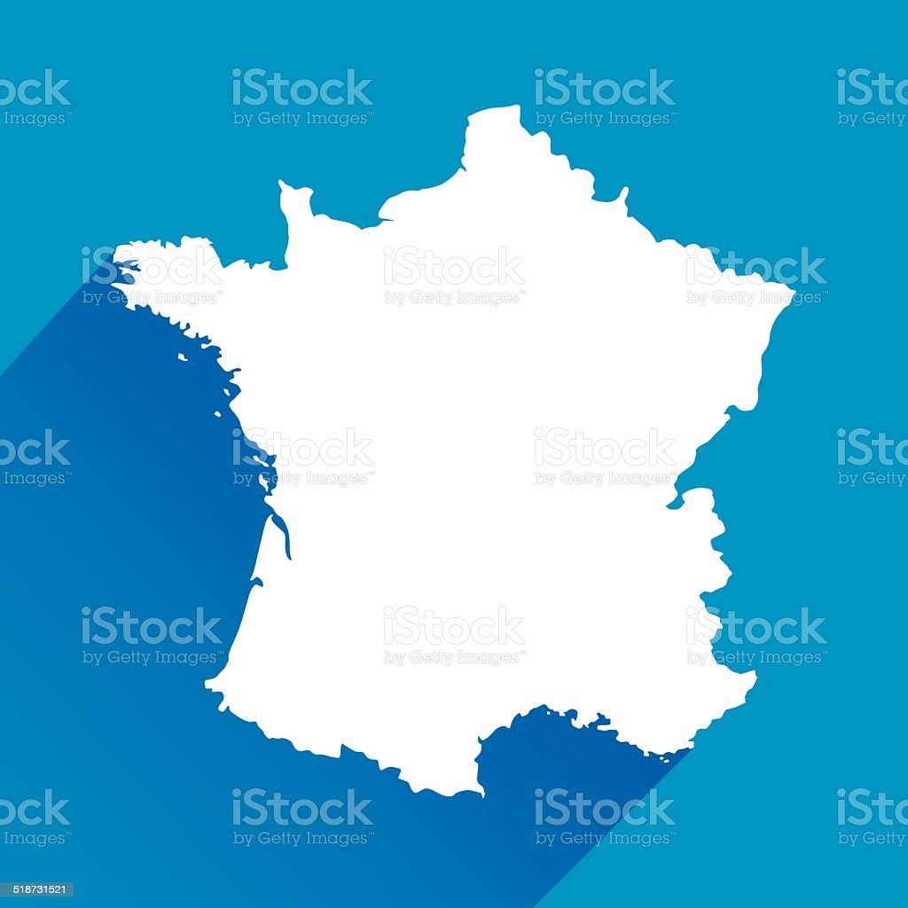 Blue France Map Icon vector art illustration
