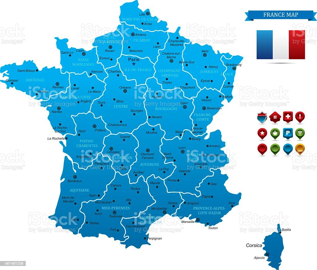 Blue France's map with separated areas vector art illustration