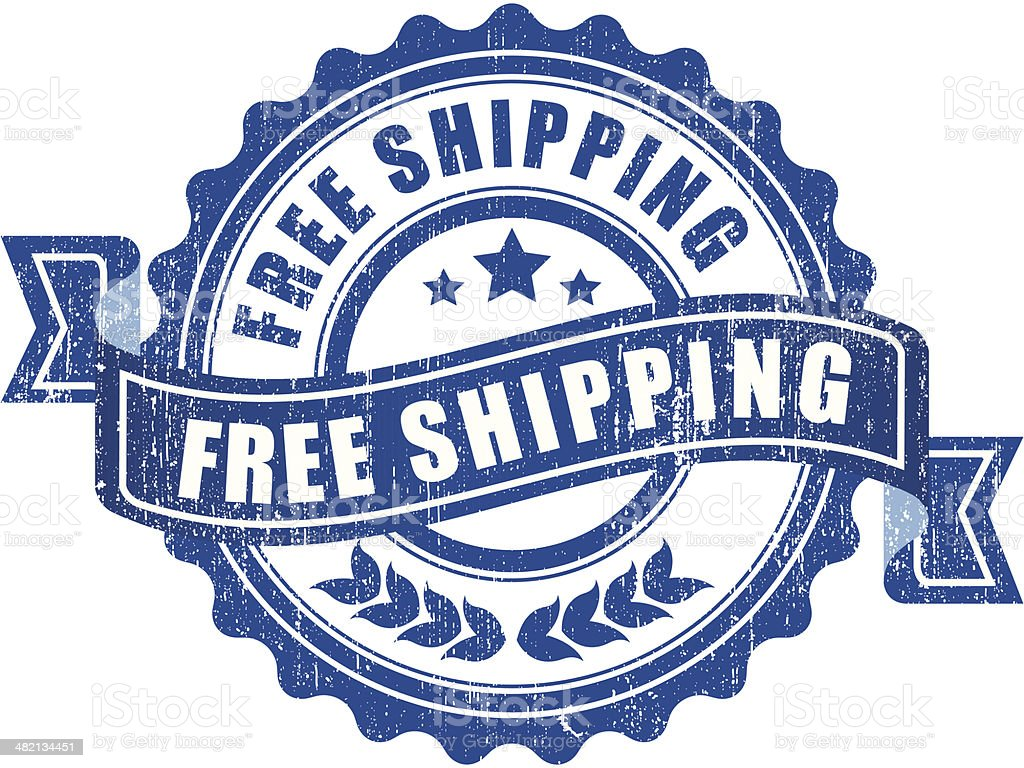 Blue free shipping sign - VECTOR royalty-free stock vector art