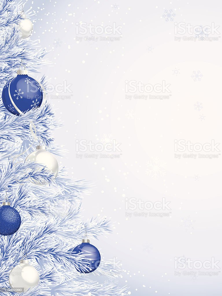 Frosted christmas ornaments - Blue Frosted Christmas Tree With Ornaments Royalty Free Stock Vector Art