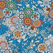 Blue full frame floral seamless background