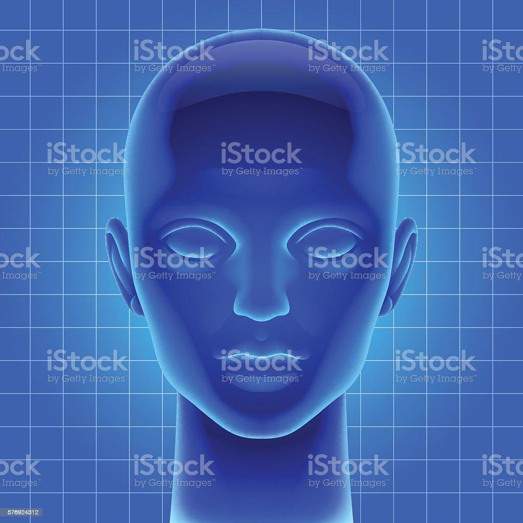 Blue futuristic artificial head vector art illustration