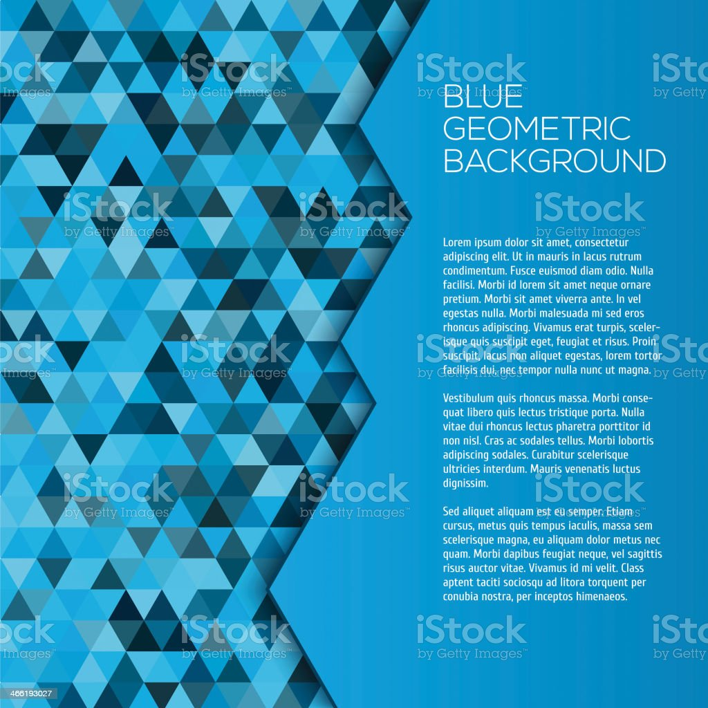 Blue geometric background with triangles royalty-free stock vector art