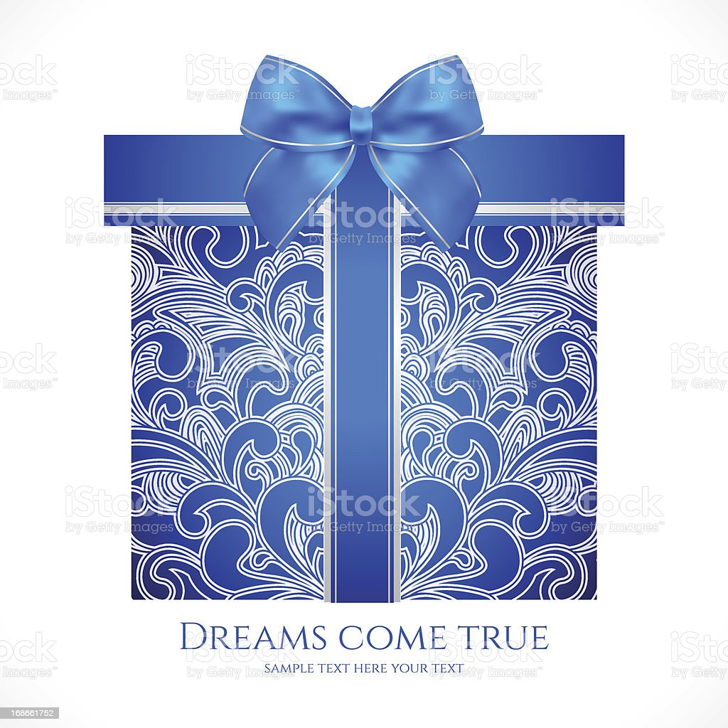 Blue gift box with floral pattern, bow (ribbon). Present royalty-free stock vector art