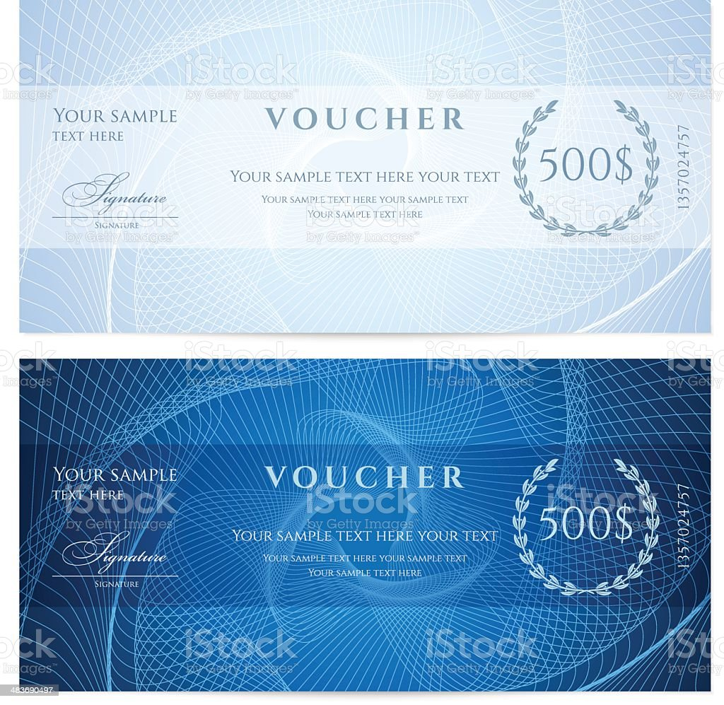 Blue Gift certificate (voucher / coupon) guilloche pattern (banknote, currency, check) vector art illustration