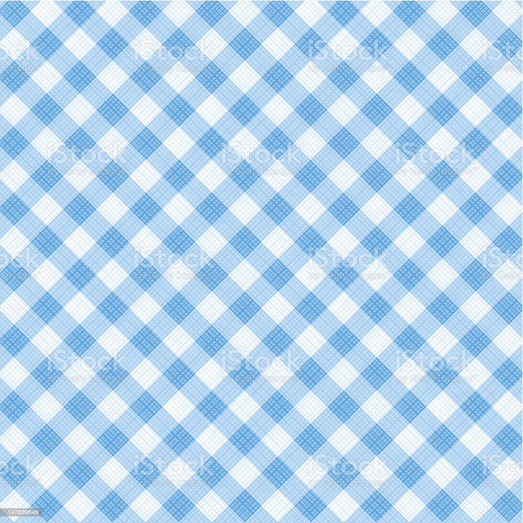 Blue gingham fabric cloth, seamless pattern included royalty-free stock vector art