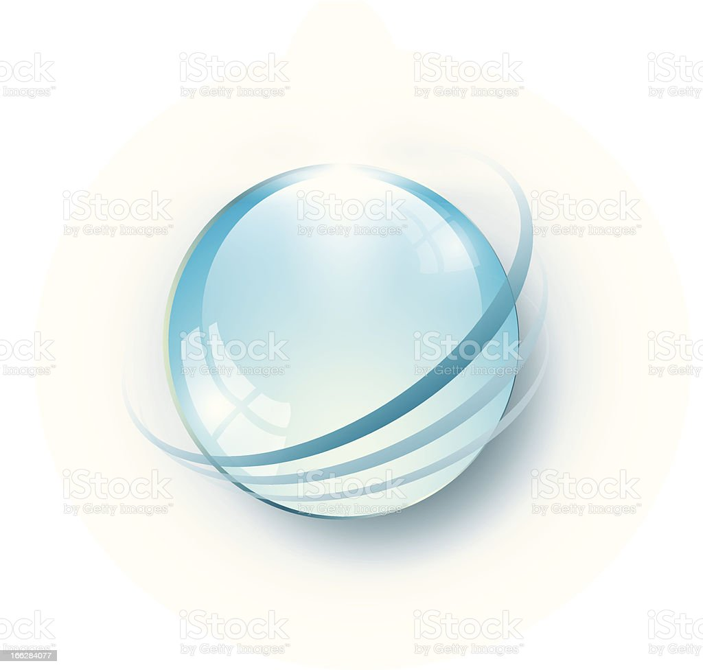 Blue glass globe vector art illustration