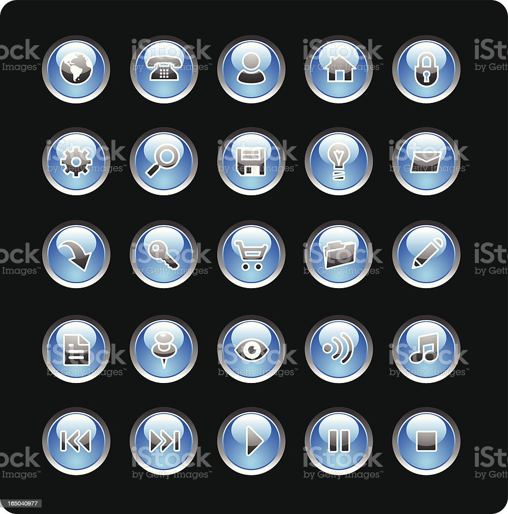 Blue Glass Icons royalty-free stock vector art