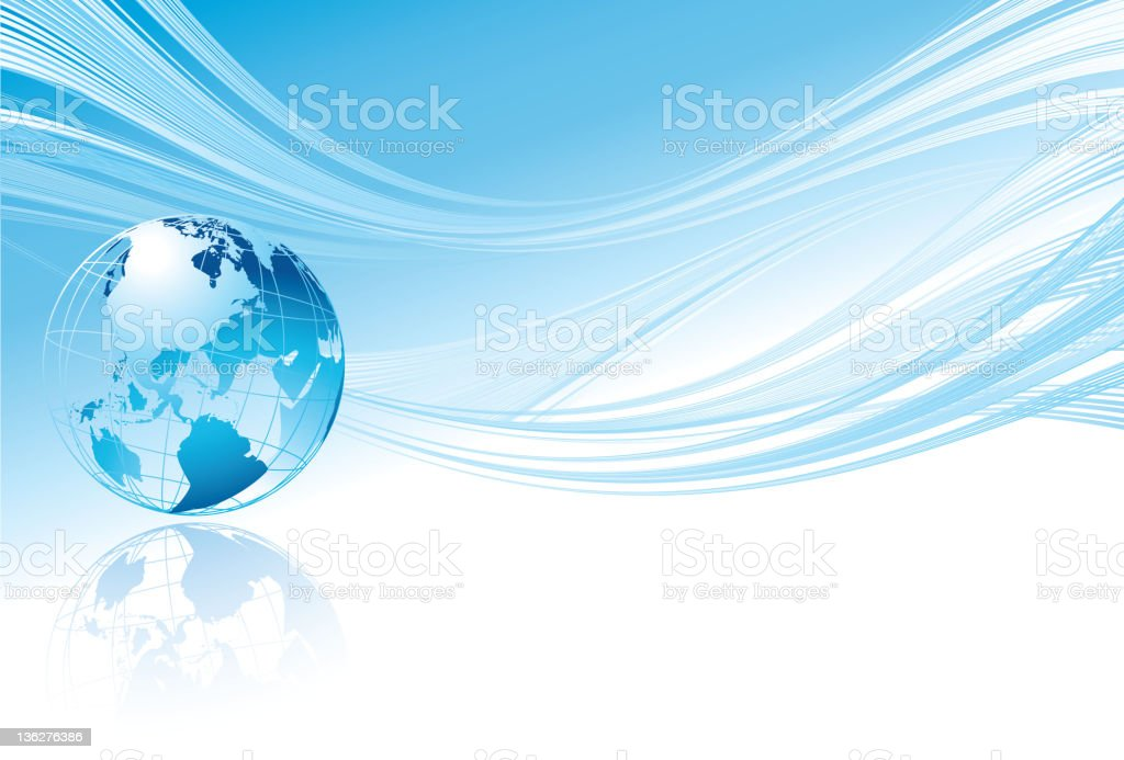 Blue globe background vector art illustration