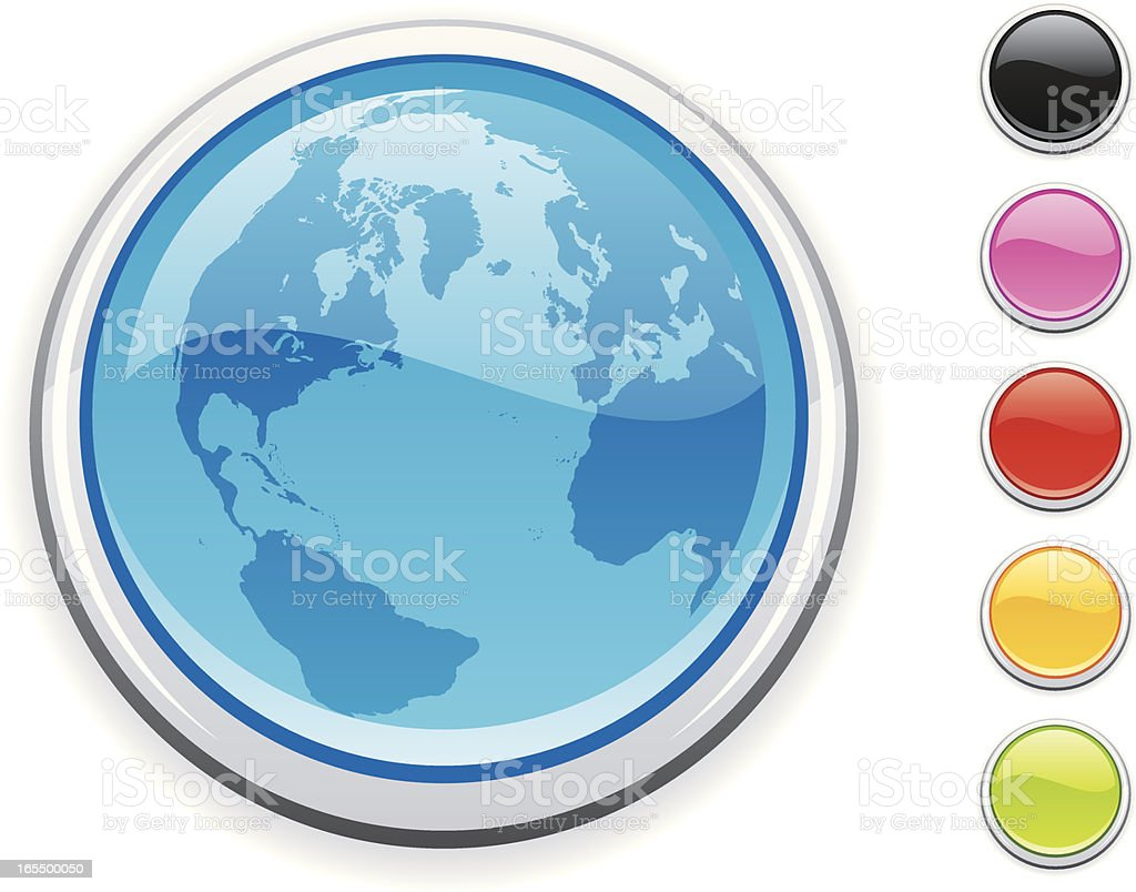 Blue globe icon vector art illustration