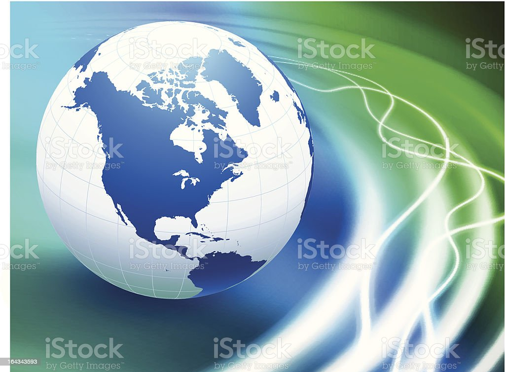 Blue Globe on Abstract Wave Background royalty-free stock vector art