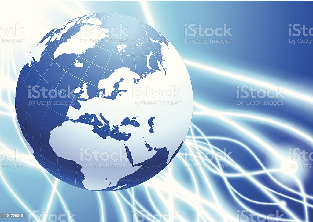 Blue Globe on Fiber Optic Cable Background royalty-free stock vector art