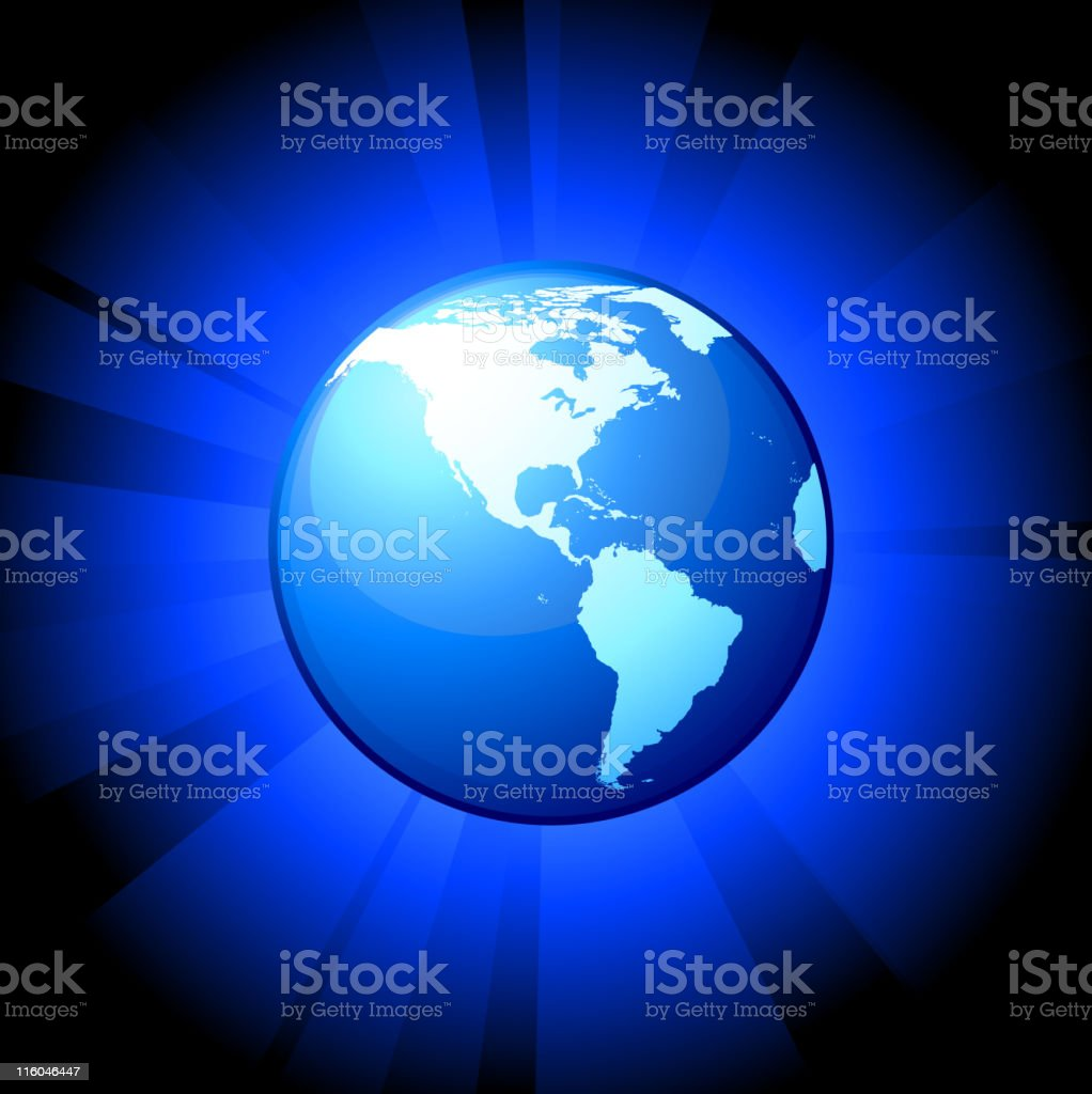 Blue globe on royalty free vector Background with glow effect. royalty-free stock vector art