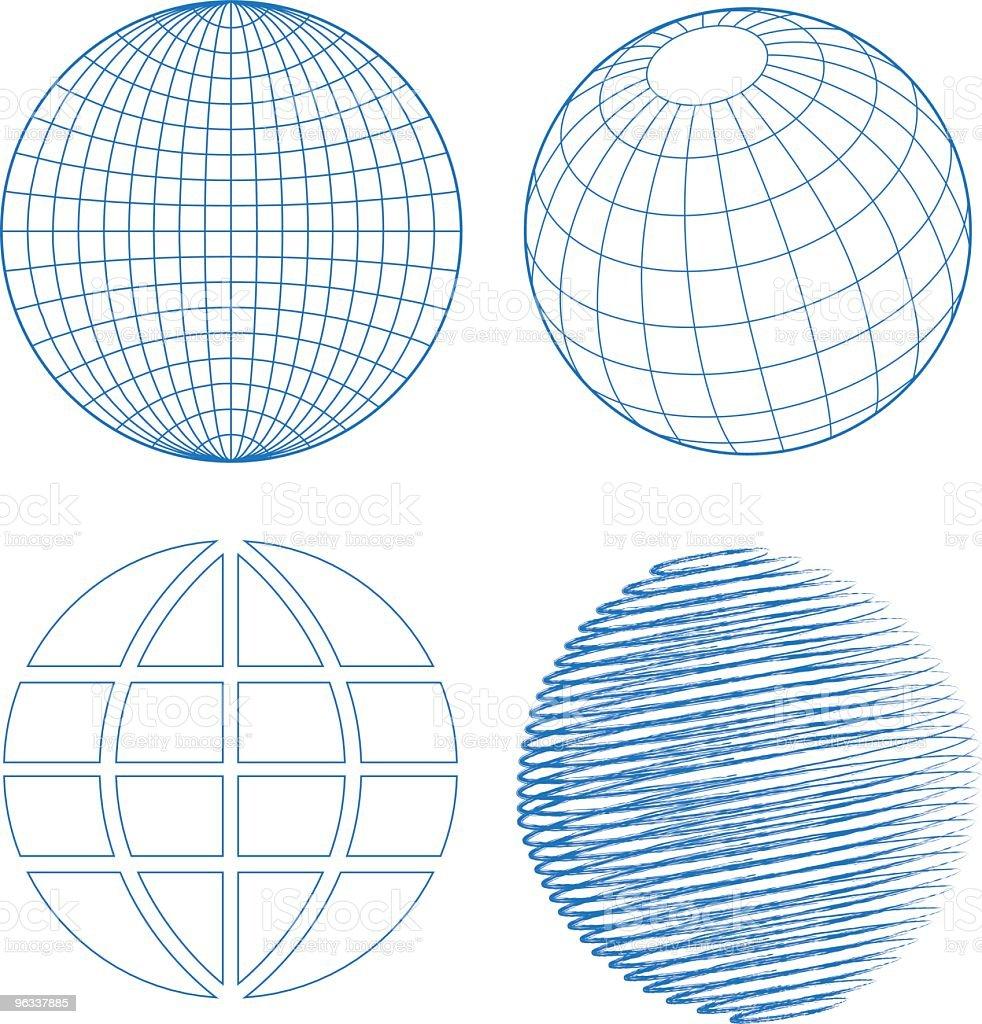 Blue globe set on white background vector art illustration