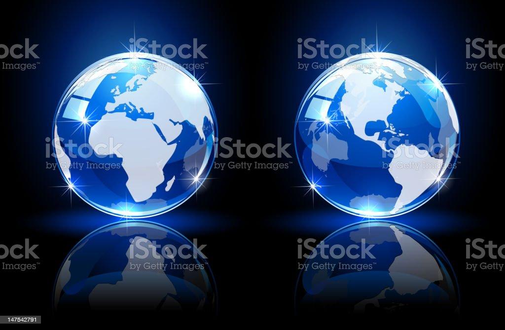 Blue globes on dark background royalty-free stock vector art