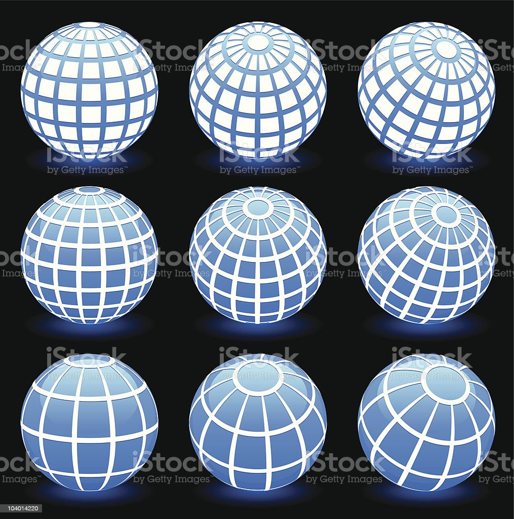 blue globes with wire frames background royalty-free stock vector art