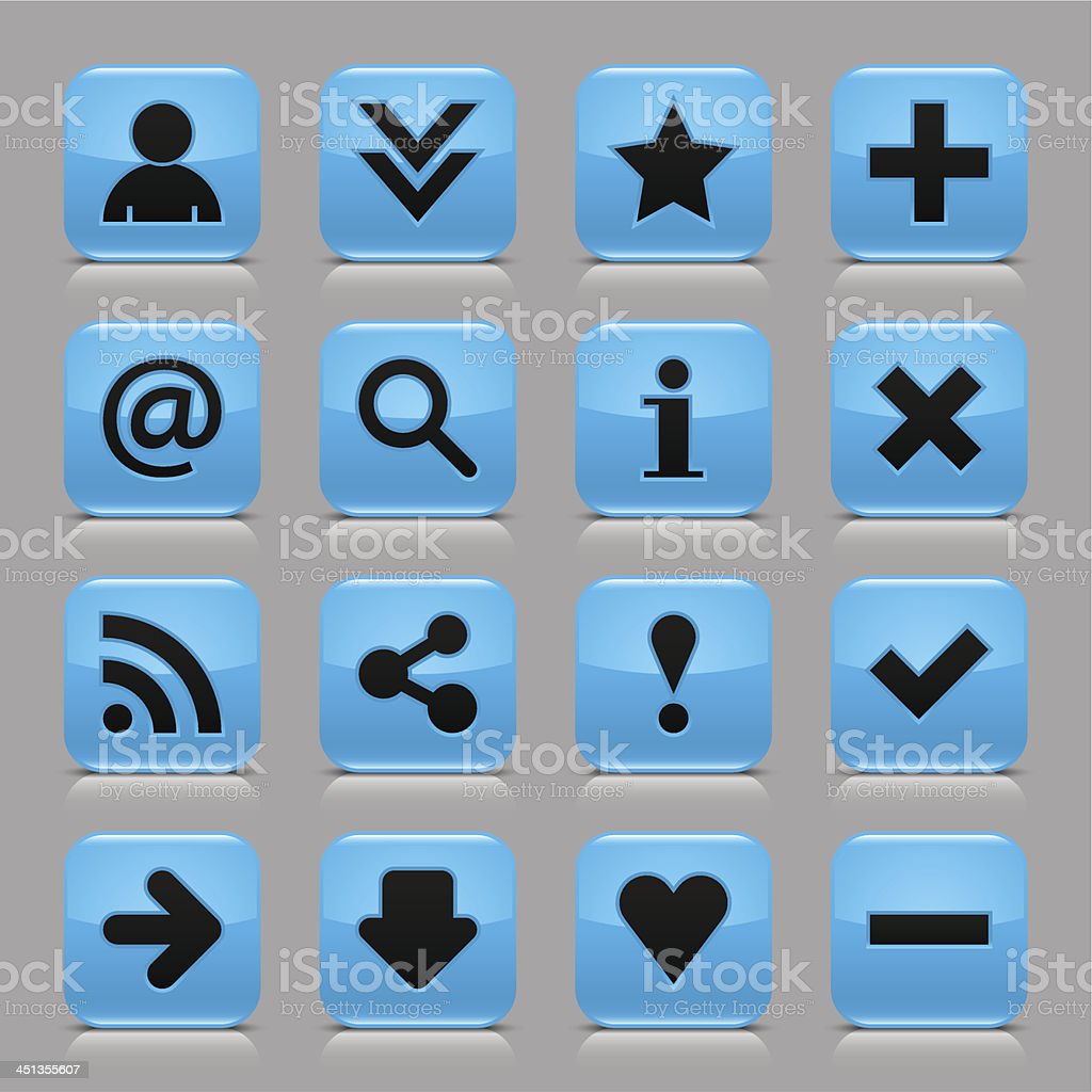 Blue glossy icon basic sign rounded square button gray background royalty-free stock vector art