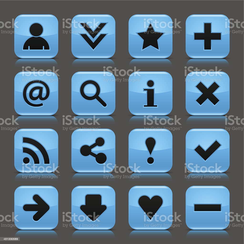 Blue glossy icon basic sign square button gray background royalty-free stock vector art