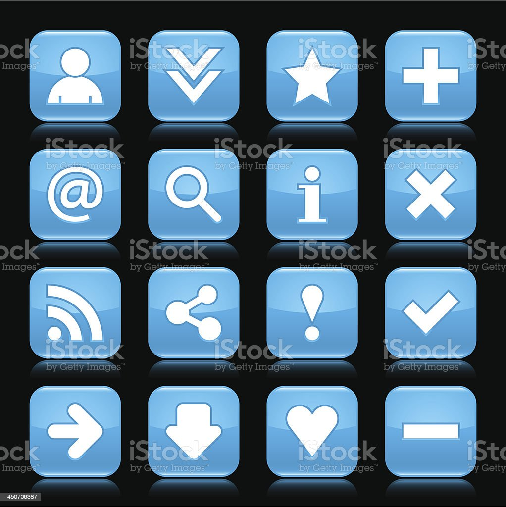 Blue glossy icon white basic sign square button black background royalty-free stock vector art