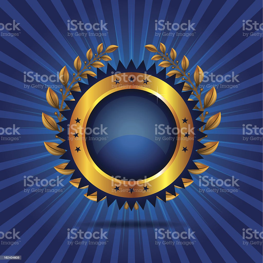 Blue Glossy Icon with Laurel wreath stock photo