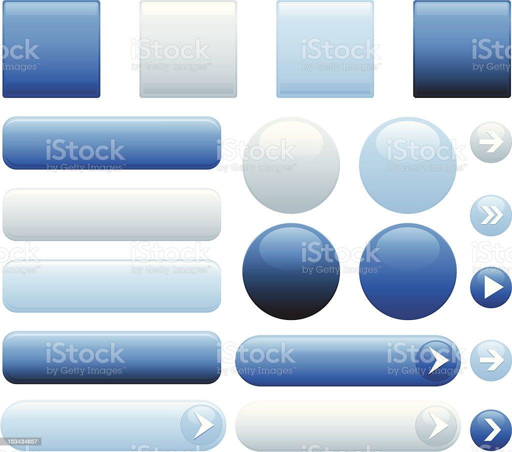Blue glossy internet buttons vector art illustration