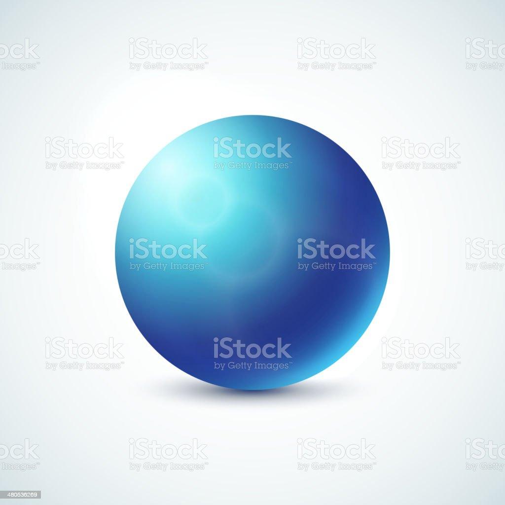 Blue glossy sphere isolated on white vector art illustration