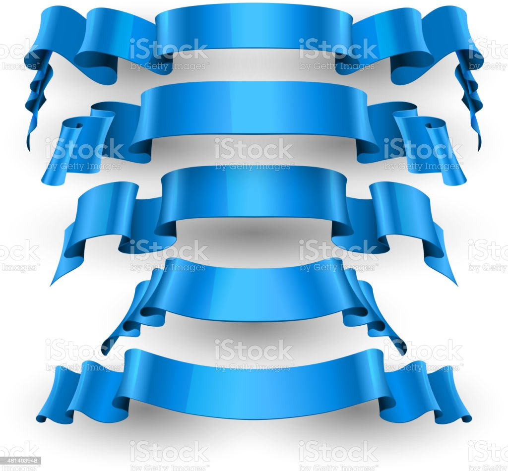 Blue Glossy vector ribbons set vector art illustration