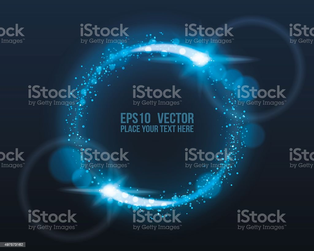 Blue Glowing Circle with Light Bursts vector art illustration
