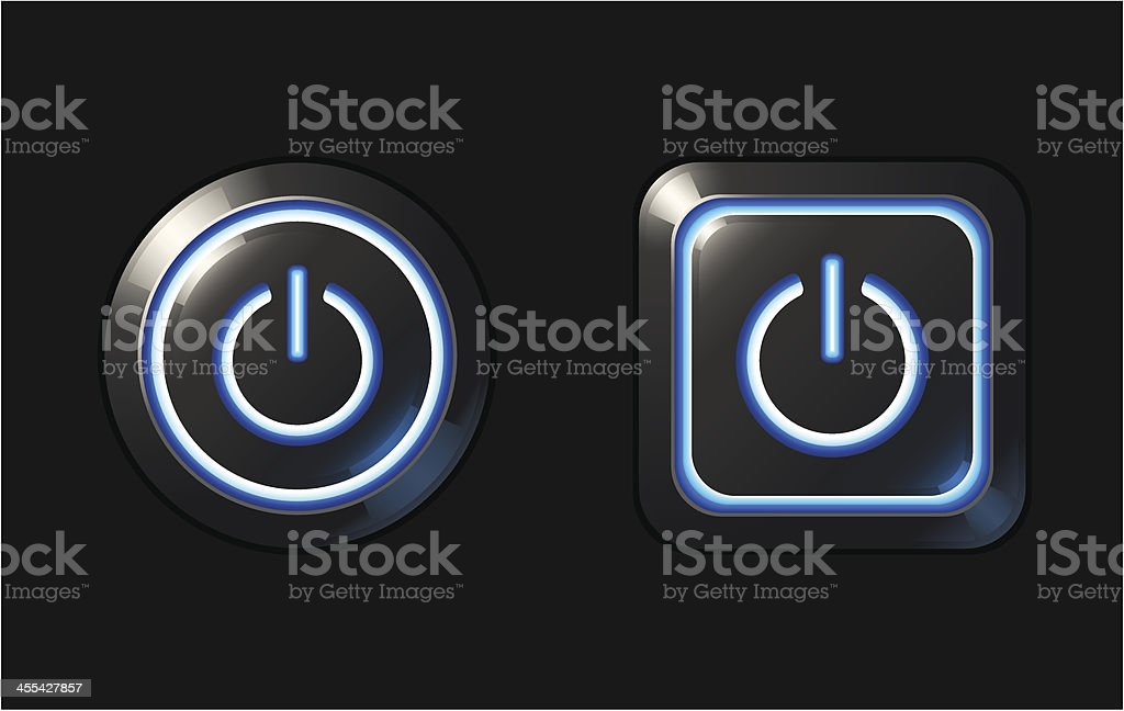 Blue Glowing Power Buttons royalty-free stock vector art