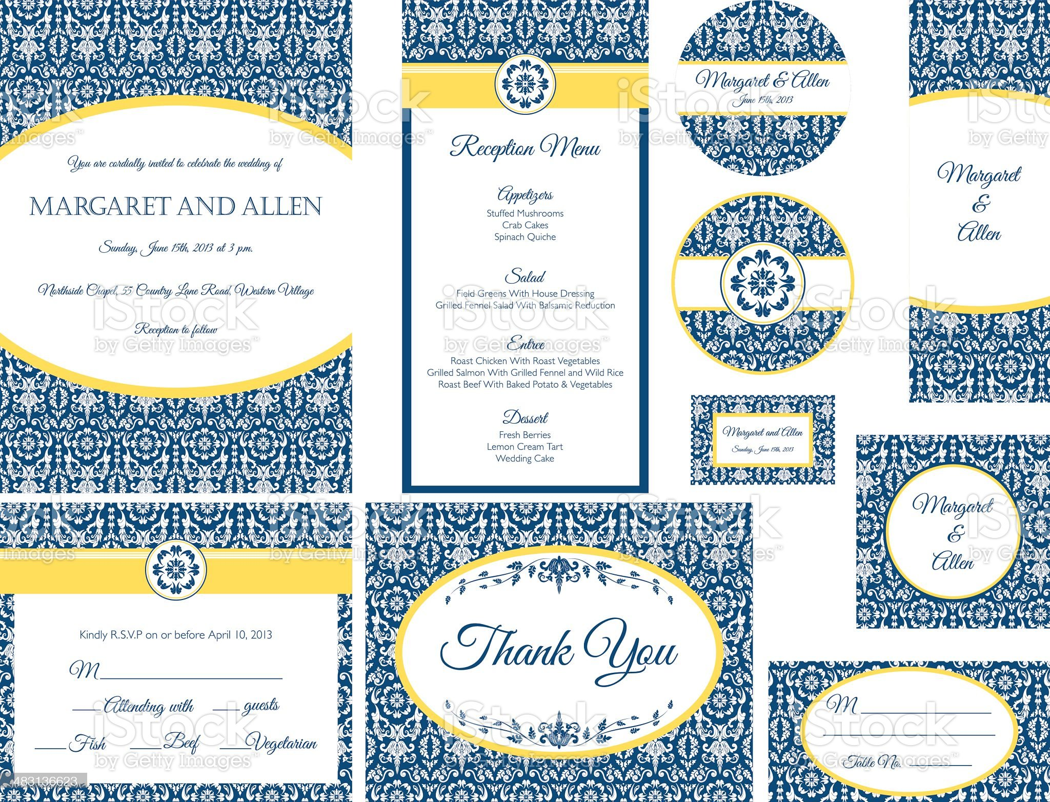 Blue & Gold Damask Wedding Invitation royalty-free stock vector art