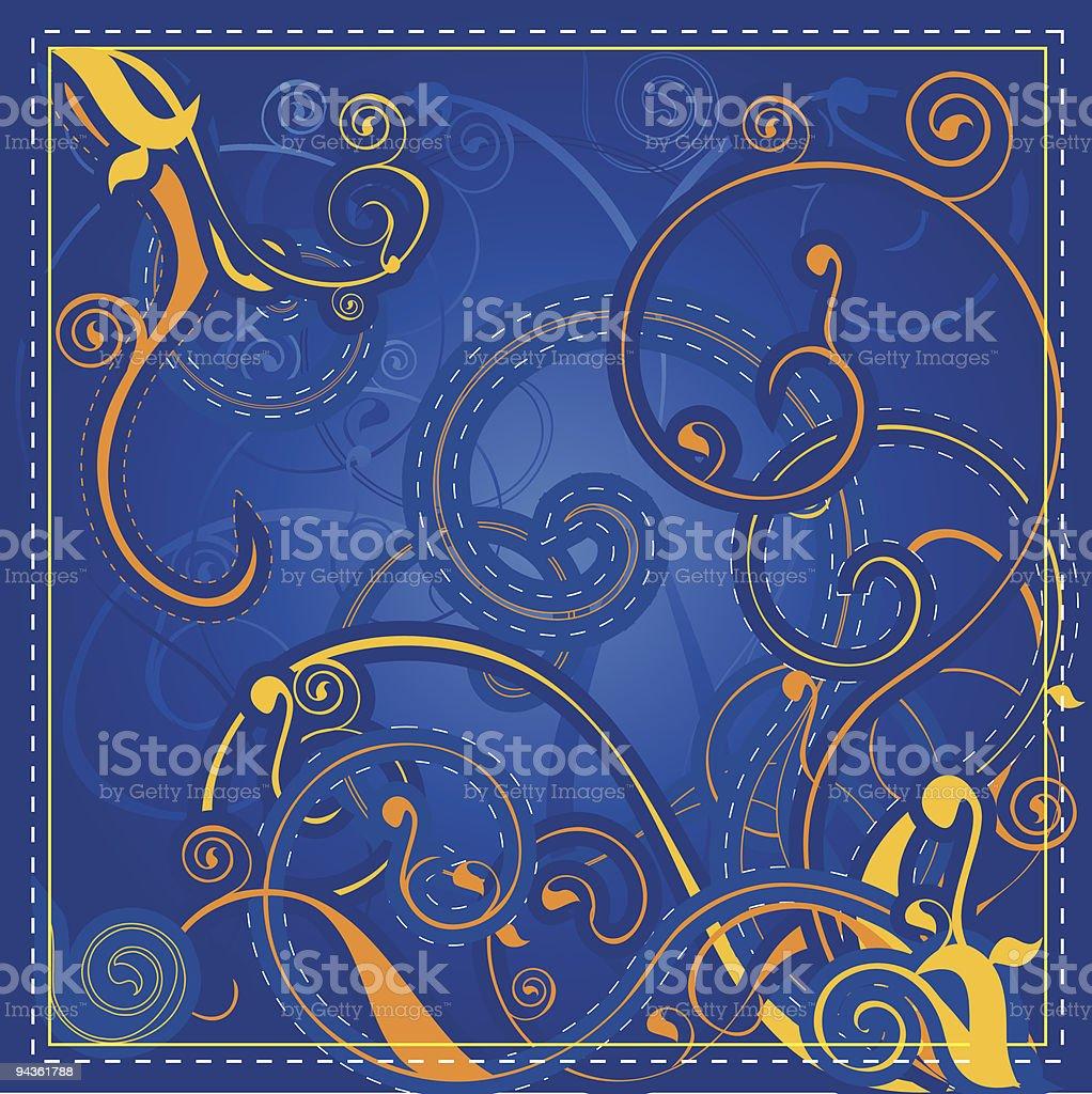 Blue & Gold Swirl Design royalty-free stock vector art