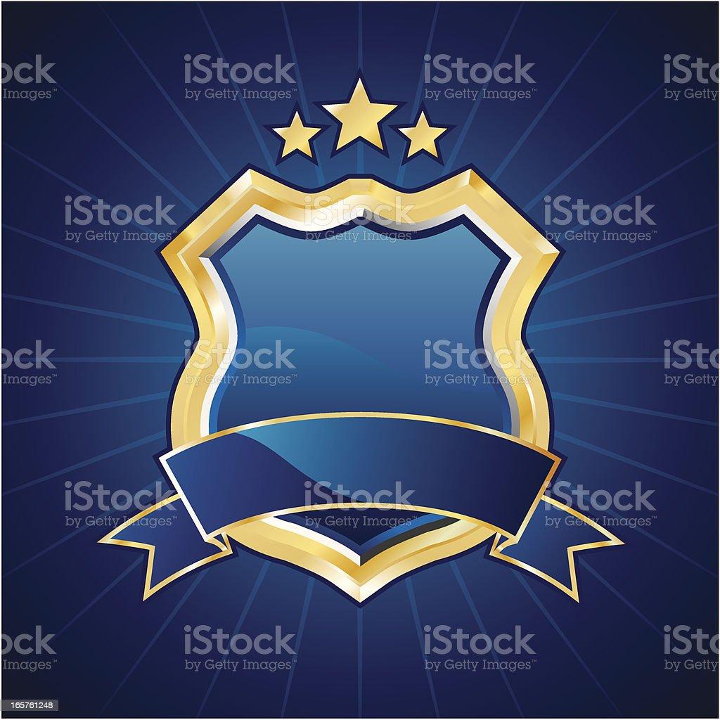 Blue golden shield vector art illustration