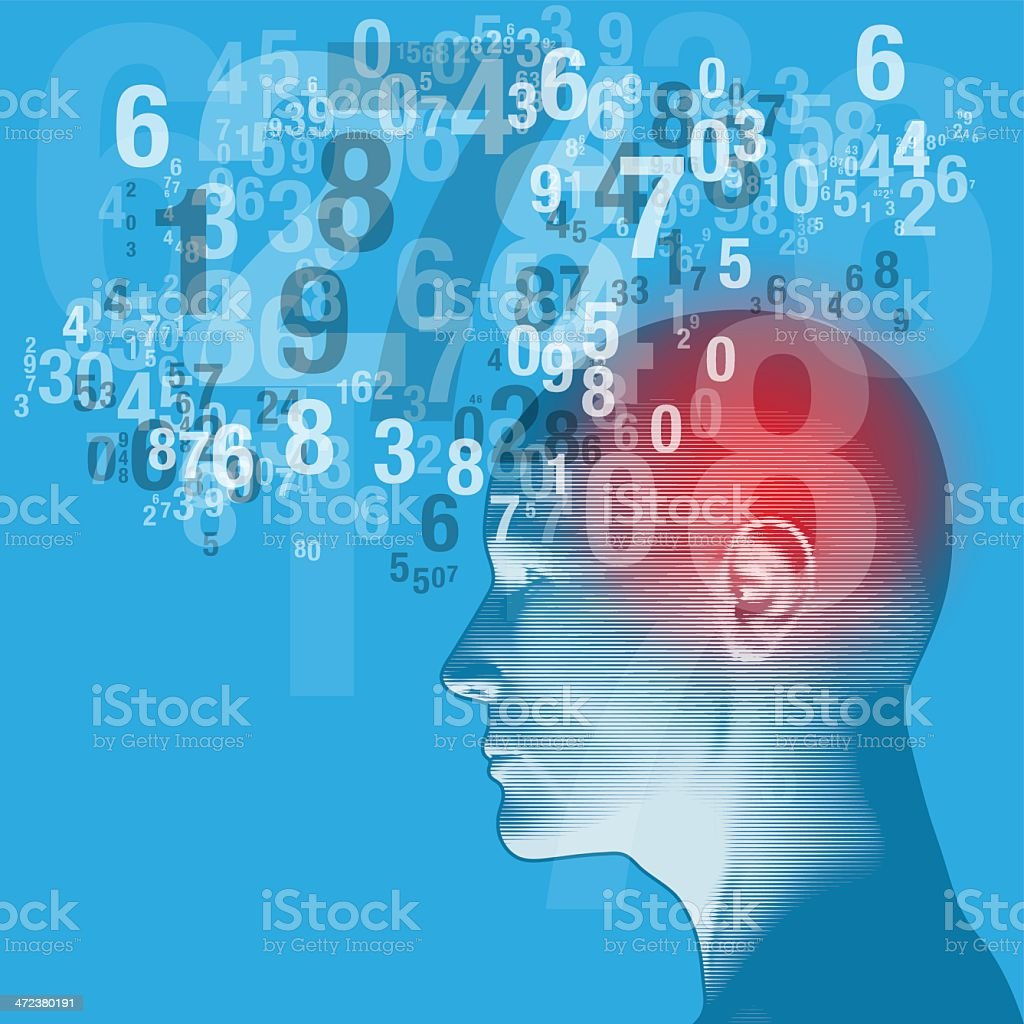 Blue graphic of a human head and a cloud of numbers vector art illustration