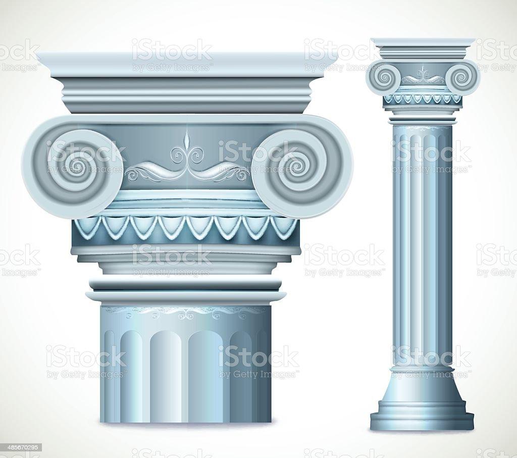 Blue greece column. Vector royalty-free stock vector art