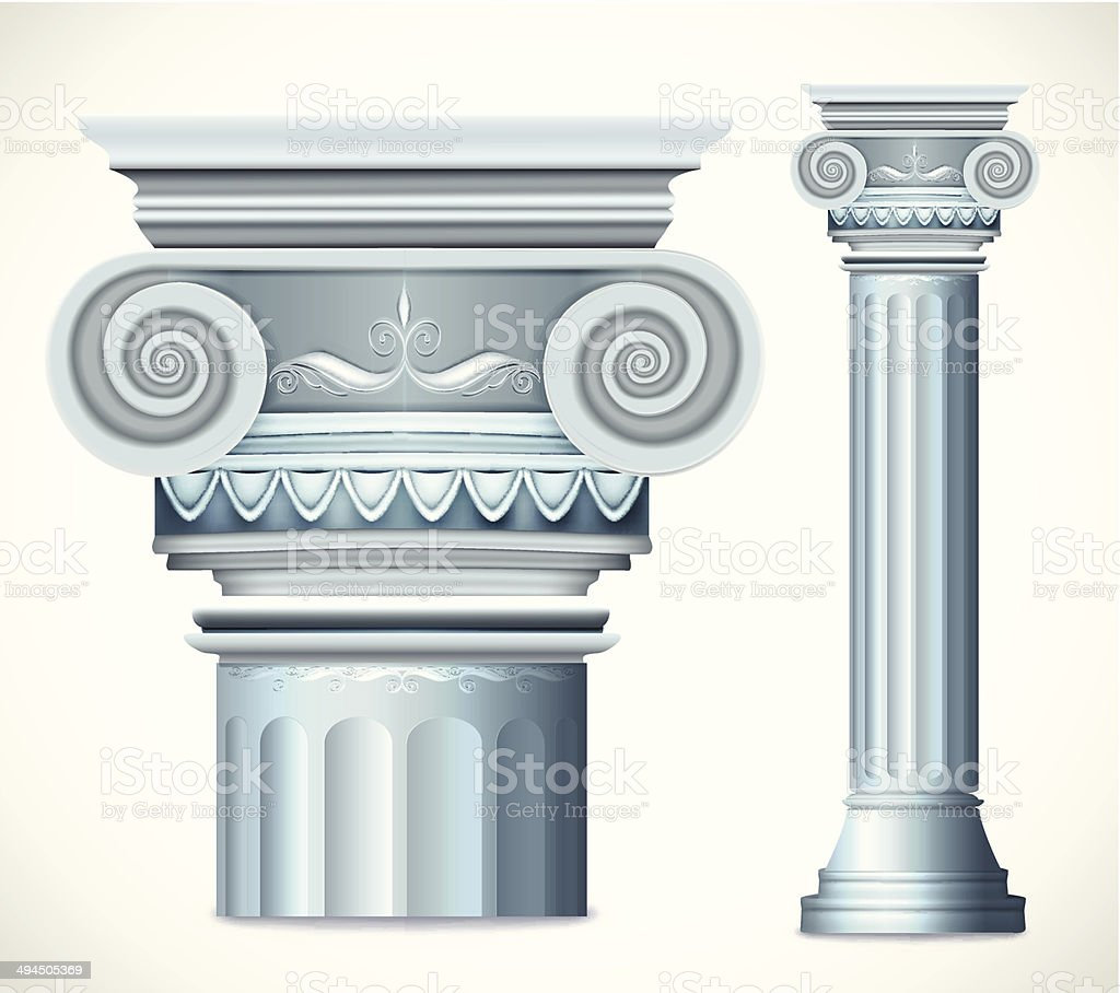 Blue greece column. Vector vector art illustration
