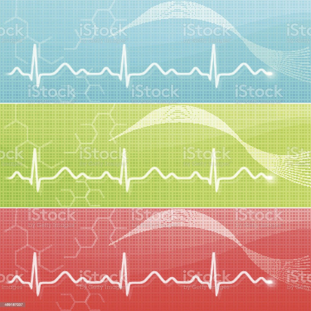 Blue, green, and red charts with EKG lines vector art illustration