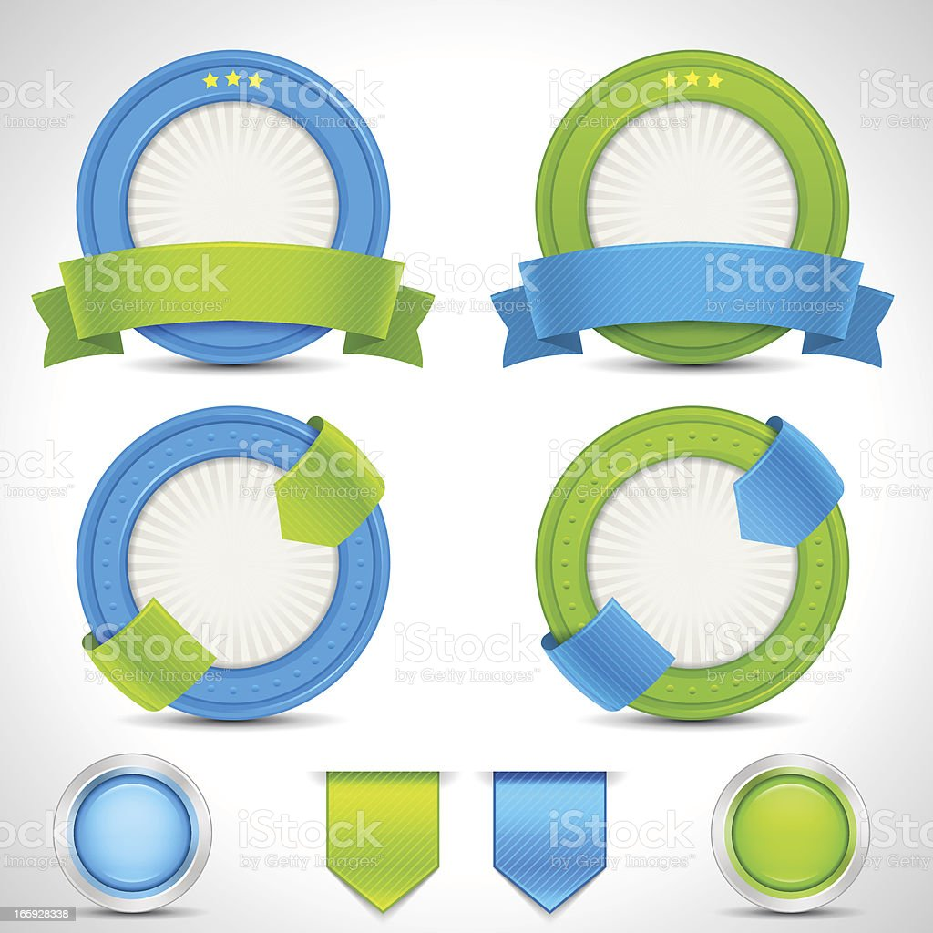 Blue & Green Badges, Ribbons and Buttons royalty-free stock vector art