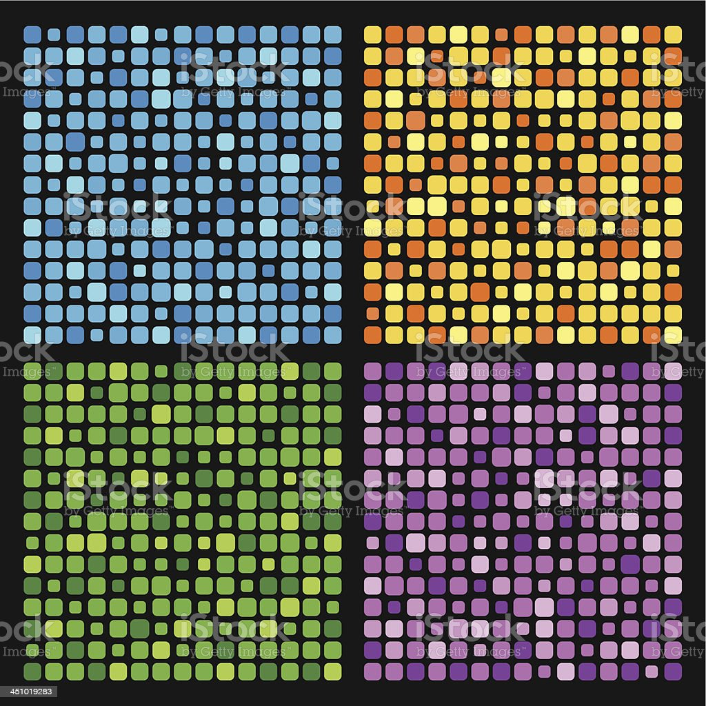 Blue, green, orange and purple backgrounds with squares royalty-free stock vector art