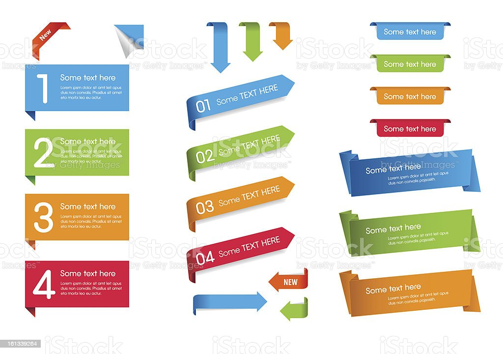 Blue, green, orange, and red web stickers, tags, and labels vector art illustration