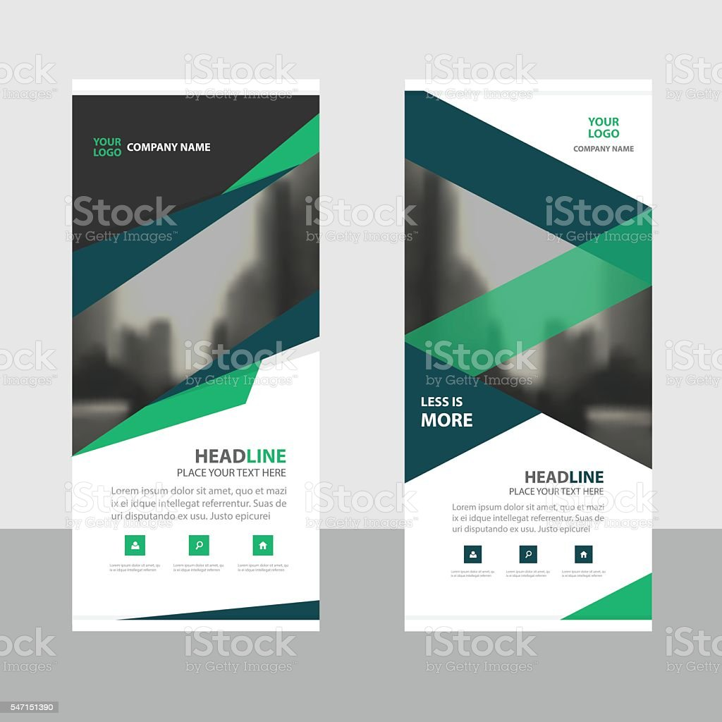 Blue green roll up business brochure flyer banner design cover vector art illustration