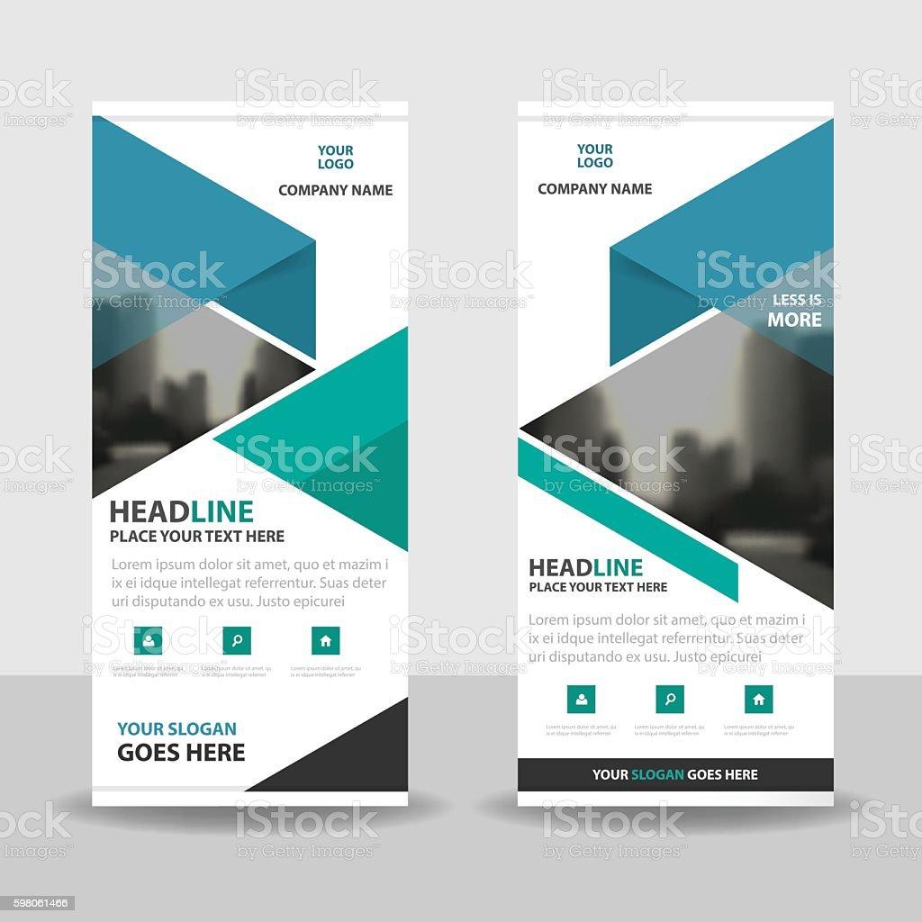 Blue green triangle roll up business brochure flyer banner design vector art illustration