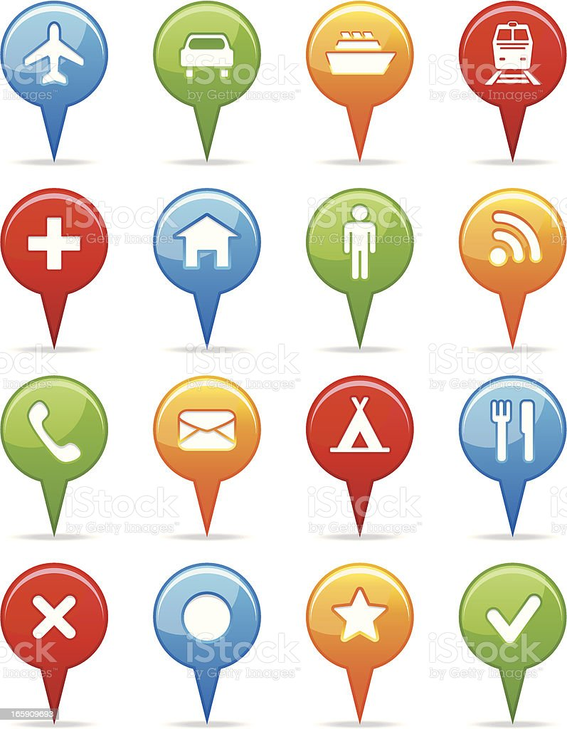 Blue, green, yellow, and red navigation icons vector art illustration