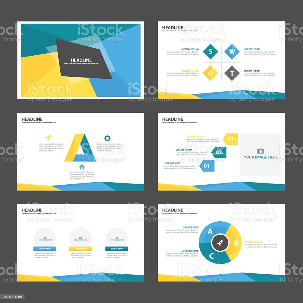 Blue Green yellow Infographic elements presentation template flat design vector art illustration