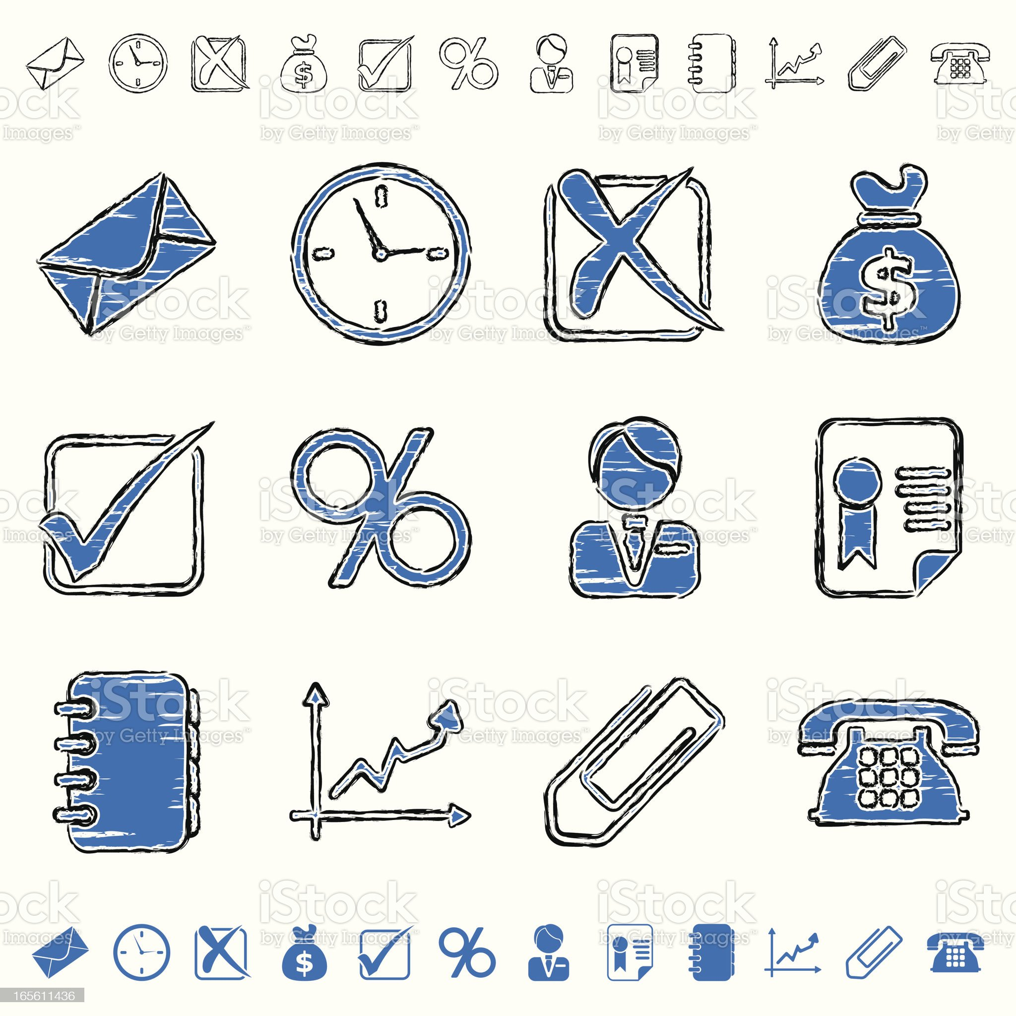 blue grunge icons - business royalty-free stock vector art