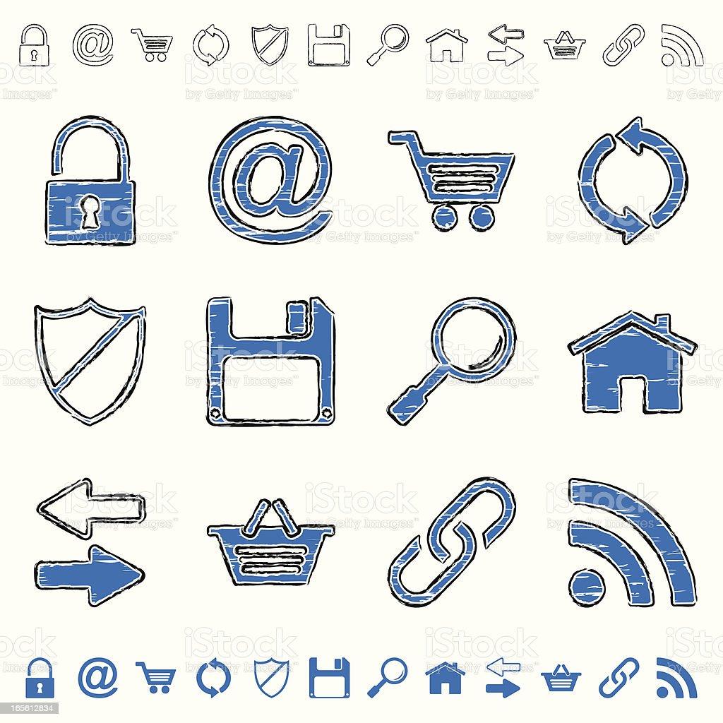 blue grunge icons - internet royalty-free stock vector art
