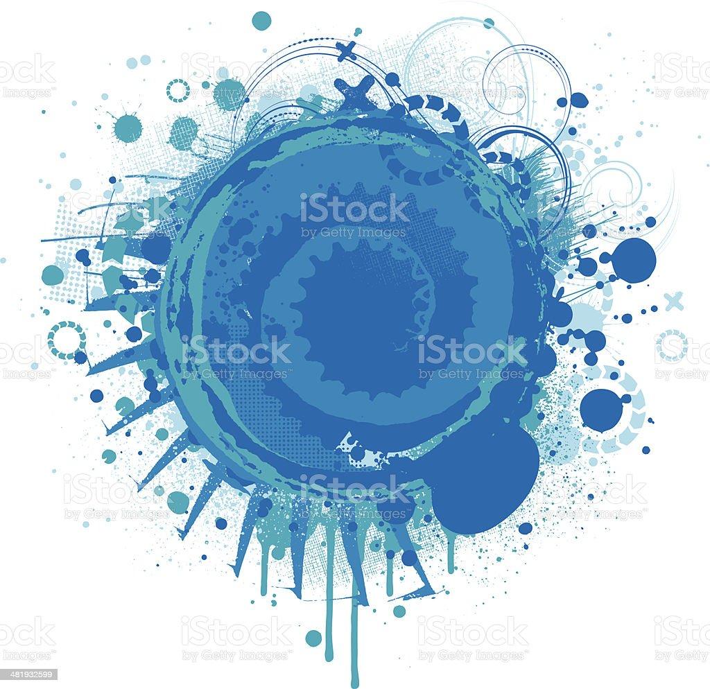 Blue grunge splatter vector art illustration