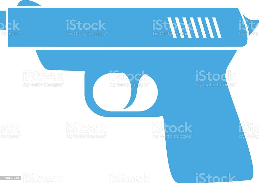 Blue gun icon vector art illustration